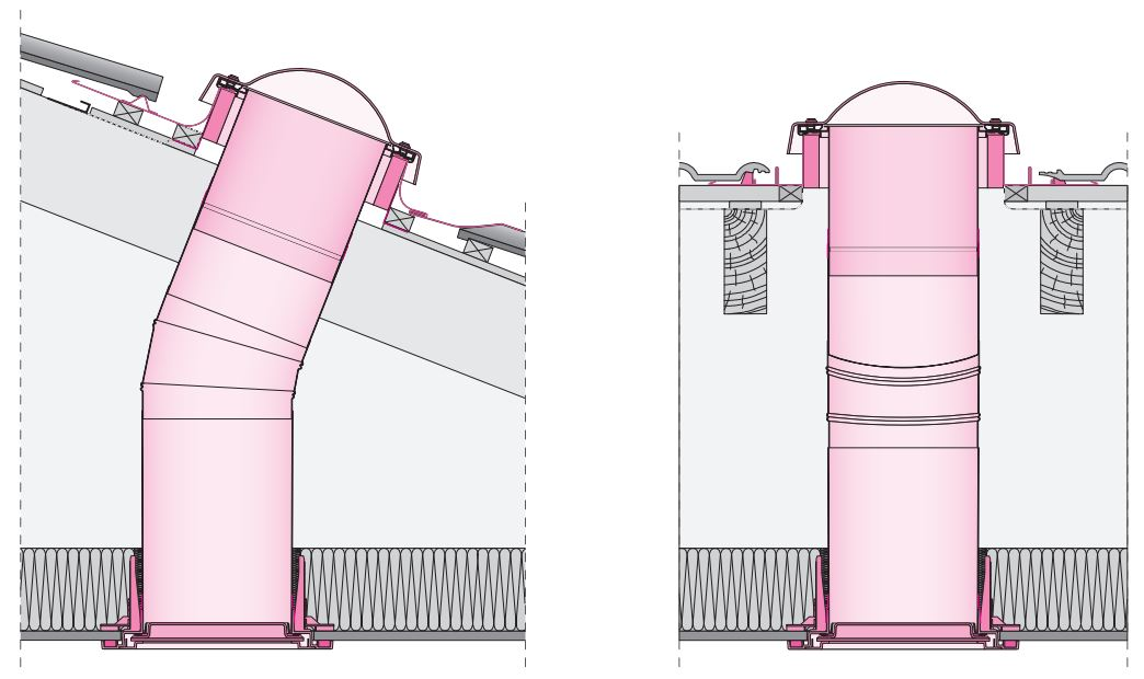 Light tunnel with rigid light transmitting tube SRT